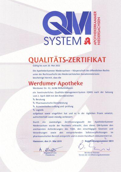 Zertifikat über Qualitität-Management-System